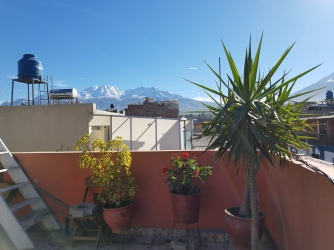 Snow capped mountains on a sunny day.
